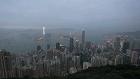 Skyline de Hong Kong na noite Foto de Stock