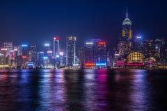 Skyline de Hong Kong na noite Foto de Stock Royalty Free