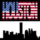 Skyline de Houston com texto da bandeira ilustração stock