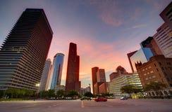 Skyline de Houston Downtown no por do sol Texas E.U. imagem de stock royalty free