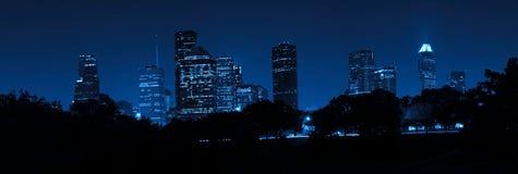 Skyline de Houston na noite Fotos de Stock