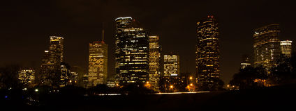 Skyline de Houston na noite Fotos de Stock