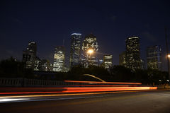 Skyline de Houston na noite Foto de Stock Royalty Free