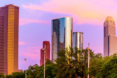 Skyline de Houston no por do sol Imagens de Stock Royalty Free