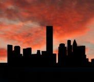 Skyline de Houston no por do sol ilustração royalty free