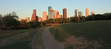 Skyline de Houston no por do sol foto de stock