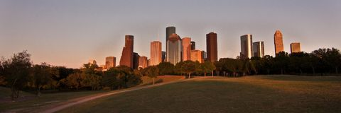 Skyline de Houston, Texas no por do sol fotografia de stock royalty free