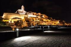 Skyline de Ibiza na noite Fotografia de Stock