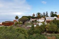 Skyline de Icod de los Vinos, Tenerife, caracterizando Aincient famoso Dragon Tree imagem de stock royalty free