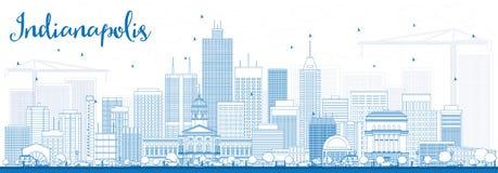 Skyline de Indianapolis do esboço com construções azuis Imagem de Stock