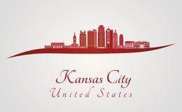 Skyline de Kansas City V2 no vermelho ilustração royalty free