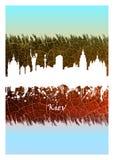 Skyline de Kiev azul e branca ilustração royalty free