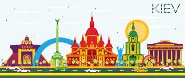Skyline de Kiev com construções da cor e o céu azul ilustração stock