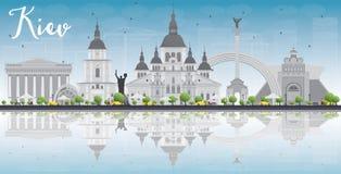 Skyline de Kiev com marcos cinzentos, o céu azul e as reflexões ilustração royalty free