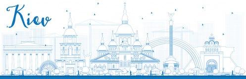 Skyline de Kiev do esboço com marcos azuis ilustração royalty free