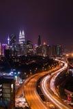 Skyline de Kuala Lumpur na noite Foto de Stock Royalty Free
