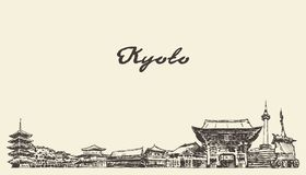 Skyline de Kyoto, esboço tirado cidade do vetor de Japão ilustração do vetor