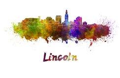 Skyline de Lincoln na aquarela Fotografia de Stock Royalty Free