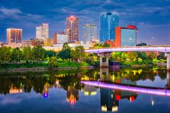 Skyline de Little Rock, Arkansas, EUA foto de stock