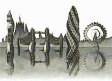 Skyline de Londres ilustração royalty free