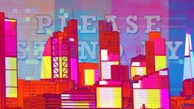 Skyline de Londres com distorção e estática da tevê imagem de stock