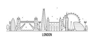 Skyline de Londres, Inglaterra, vetor BRITÂNICO das construções da cidade ilustração stock