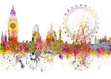 A skyline de Londres no estilo do grunge com aquarela borra ilustração royalty free