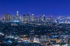 Skyline de Los Angeles na noite Imagem de Stock Royalty Free