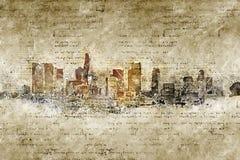 Skyline de Los Angeles no olhar moderno e abstrato do vintage Imagem de Stock