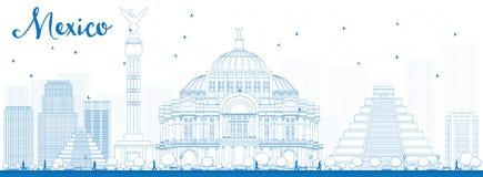 Skyline de México do esboço com marcos azuis Imagem de Stock