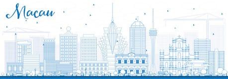 Skyline de Macau do esboço com construções azuis Fotos de Stock
