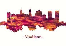 Skyline de Madison Wisconsin no vermelho ilustração royalty free