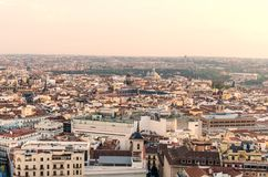 Skyline de Madrid no por do sol Fotos de Stock Royalty Free