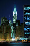 Skyline de Manhattan em noites Foto de Stock Royalty Free