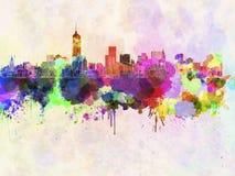 Skyline de Manhattan na aquarela ilustração do vetor