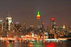 Skyline de Manhattan na Noite de Natal foto de stock