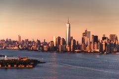 Skyline de Manhattan no crep?sculo fotos de stock