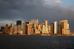 Skyline de Manhattan no por do sol Foto de Stock Royalty Free
