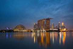 Skyline de Marina Bay em Singapura Fotos de Stock Royalty Free