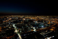 Skyline de Melbourne na noite Foto de Stock Royalty Free