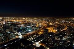 Skyline de Melbourne na noite Imagem de Stock Royalty Free