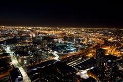 Skyline de Melbourne na noite Imagens de Stock