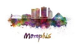 Skyline de Memphis na aquarela ilustração do vetor