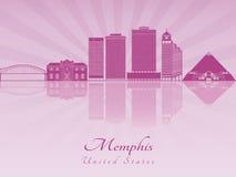 Skyline de Memphis na orquídea brilhante roxa ilustração do vetor