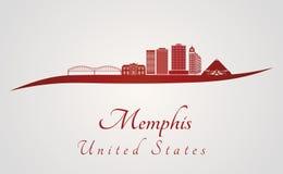 Skyline de Memphis V2 no vermelho ilustração stock