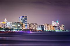 Skyline de Miami Beach Foto de Stock Royalty Free