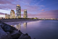 Skyline de Miami Beach Fotografia de Stock