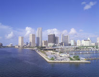 Skyline de Miami Beach, Florida da baía Fotos de Stock