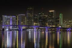 Skyline de Miami na noite Foto de Stock