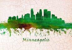 Skyline de Minneapolis Minnesota ilustração stock